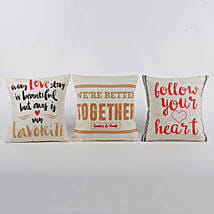 Personalised Love Message Cushions Set Of 3: Buy Cushions