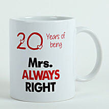 Personalised Mrs Right Mug: Send Anniversary Gifts to Vasai