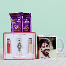 Personalised Mug With Chocolates & Rakhi: Rakhi Gifts to Bulandshahr