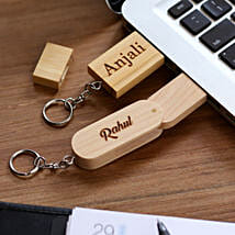 Personalised One Personalised Wooden Pen Drive For Couple: