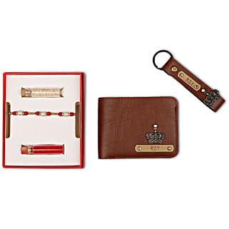 Personalised Tan Brown Wallet & Keychain With Rakhi: Personalised Accessories