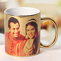 Personalized Ceramic Golden Mug: Send Gifts to Dwarka