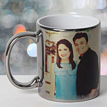 Personalized Ceramic Silver Mug: Send Gifts to Fatehabad