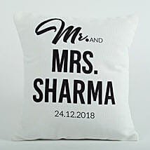 Personalized Cushion Mr N Mrs: Send Gifts to Puducherry