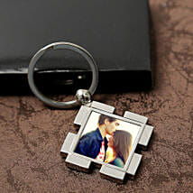 Personalized Valentine Keyring: Send Gold Rakhi