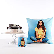 Photo Cushion, Mug & Cake Combo For Her: Same Day Personalised Gifts