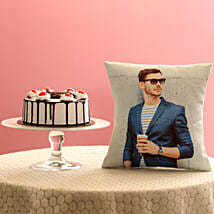 Picture Cushion & Black Forest Cake Combo: Uncle