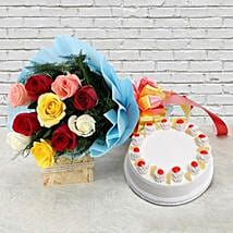 Pineapple Cake with Roses: 2nd Birthday Gifts