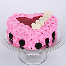 Pink Flower Heart Cake: Send Anniversary Cakes to Mumbai