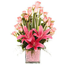 Pink Flowers Vase Arrangement: Lilies to Bengaluru