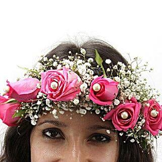 Pink Fresh Flower Tiara: Floral Jewellery