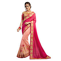 Pink Georgette Embroidered Saree: Saree Gifts