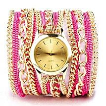 Pink N Gold Chain Watch For Women: Birthday Gifts for Sister