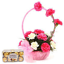 Pink N White Basket Of Flavours: Chocolates for Karwa Chauth