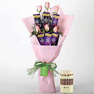 Pink Roses Chocolate Bouquet & Rakhi: Rakhi with Flowers
