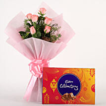 Pink Roses N Chocolates: Friendship Day - Flowers & Chocolates