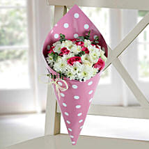 Pink Roses N Daisy Bunch: Send Flowers to Nellore