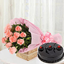 Pink Roses with Cake: Send Mango Cakes to Dehradun