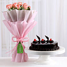 Pink Roses with Cake: Bhai Dooj Gifts for Sister