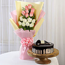 Pink & White Roses & Choco Cream Cake: Easter Gifts