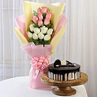 Pink & White Roses & Choco Cream Cake: Flowers N Cakes - birthday