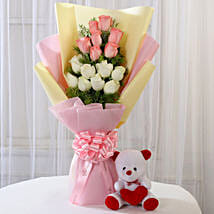 Pink & White Roses with Teddy Bear Combo: Valentine Flowers & Teddy Bears