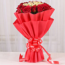 Premium Rocher Bouquet: Send Gold Rakhi