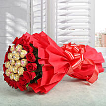 Premium Rocher Bouquet: Flowers and Chocolates for Christmas