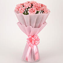 Pretty Pink Carnations Bouquet: Flowers to Varanasi