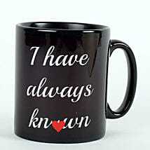 Printed Ceramic Black Mug: Send Valentine Gifts to Faridabad