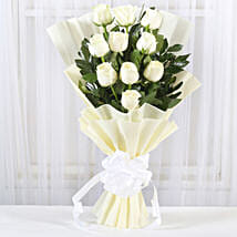 Pristine White Roses Bunch: Send Anniversary Flowers to Chennai