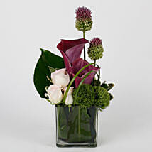 Purple Calla Lilies Pink Roses in Glass Vase: Lilies