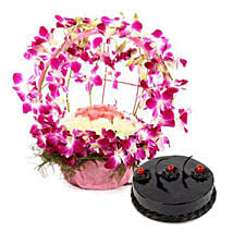 Purple Orchid n Cake Passion: Mixed flowers