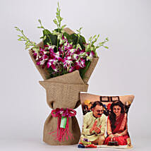 Purple Orchids Bunch & Personalised Cushion Combo:
