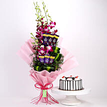 Purple Orchids Posy & Black Forest Cake: Orchids