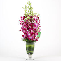 Purple Orchids Vase Arrangement: Mothers Day Flowers to Ghaziabad