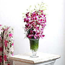 Purple Orchids Vase Arrangement: Send Congratulations Flowers
