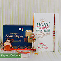Rakhi With Delicious Sweets: Set of 2 Rakhis