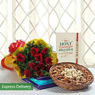 Rakhi With Dry Fruits And Roses: Rakhi Gifts to Bangalore
