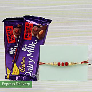 Rakhi With Fruit And Nut: Rakhi with Chocolates