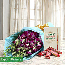 Rakhi With Orchids And Kit Kat: Send Rakhi with Flowers