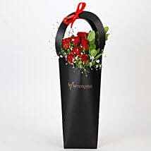 Ravishing Red Roses in Black Sleeve: Get Well Soon