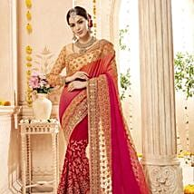 Red and Beige Embroidered Saree in Geogette: Apparel Gifts