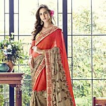 Red and Golden Embroidered Saree in Georgette: Apparel Gifts
