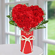 Red Carnation Heart Arrangement: Flower Delivery In Chandigarh