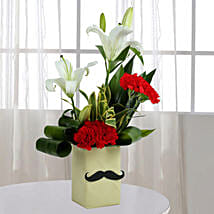 Red Carnation N Leaves Arrangement: Lilies