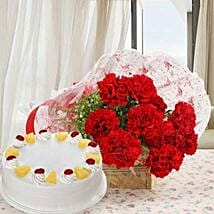 Red Carnations And Pineapple Cake: Send Flowers to Mathura