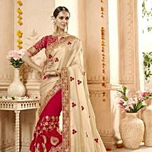 Red Net and Georgette Wedding Wear Embroidered Saree: Apparel Gifts
