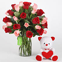 Red & Pink Roses With Teddy Bear: Mothers Day Flowers and Teddy