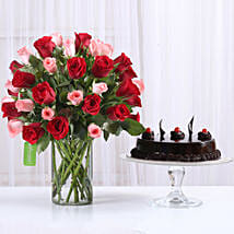 Red & Pink Roses With Truffle Cake: Flowers & Cakes for Birthday